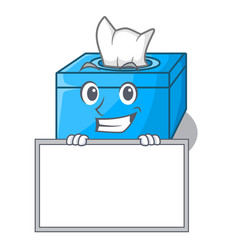 Grinning with board character tissue box on wood vector