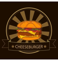 Hand drawn burger Fast food vector image