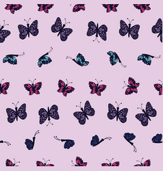 Hand drawn multi colored butterflies on a light vector