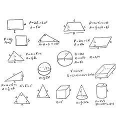 Hand Written Geometry Formulas vector