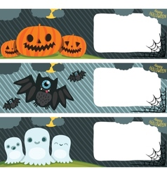 Happy halloween card set with pumpkin bat ghost vector