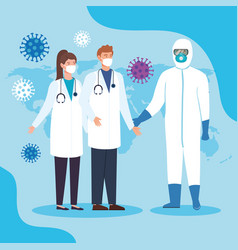 Health professionals for coronavirus 2019 vector