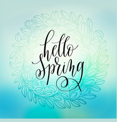 Hello spring hand lettering poster calligraphy vector