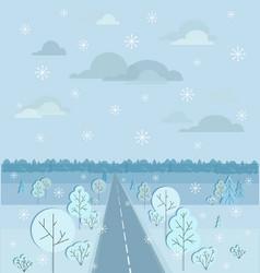Highway or motorway winter landscape autobahn vector