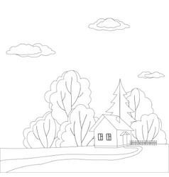 house in forest contours vector image