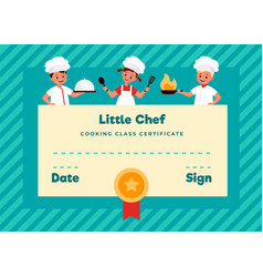 kids cooking class certificate cooking school vector image