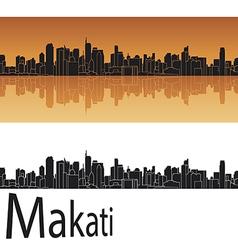 Makati skyline in orange background vector