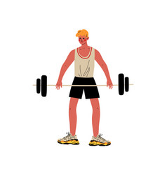 Male weightlifter athlete character in sports vector