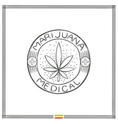 Medical marijuana logo black four vector