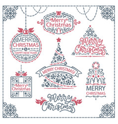 Merry christmas design labels set vector
