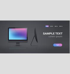 modern desktop monitor workstation blank computer vector image