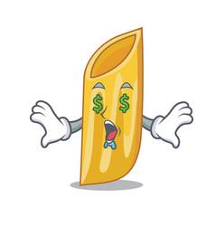 Money eye penne pasta character cartoon vector