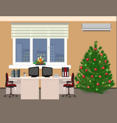 Office room interior including christmas design vector