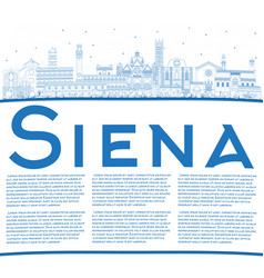 outline siena tuscany italy city skyline with vector image