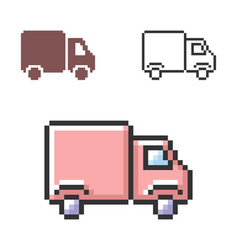 pixel icon delivery car in three variants vector image