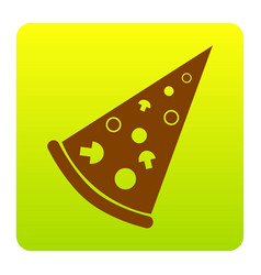 pizza simple sign brown icon at green vector image
