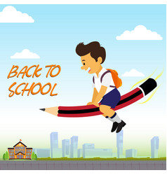 Poster back to school with boy vector