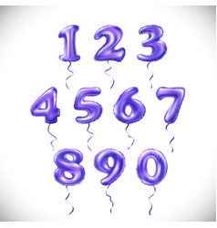 Purple number 1 2 3 4 5 6 7 8 9 0 metallic vector