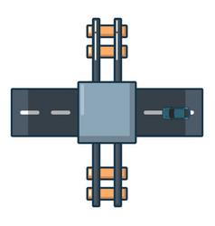 railroad crossing icon cartoon style vector image vector image