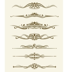 Retro flourishes page dividers decorative vector image