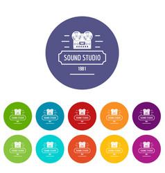 retro sound studio icons set color vector image