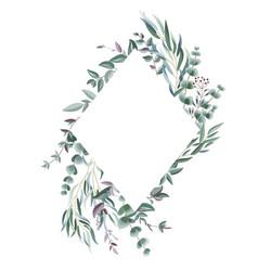 Rhombic frame from eucalyptus vector
