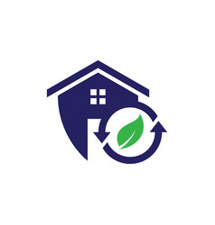 Safe recycle home icon vector