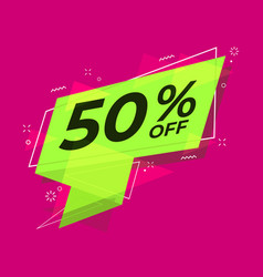 sale banner discount 50 percent off flat style vector image