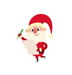santa claus with wishlist cartoon vector image