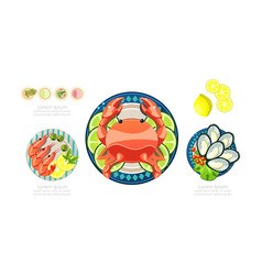 seafood dishes set shrimps lobster oysters vector image