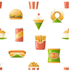 Seamless pattern fast food icons symbols isolated vector