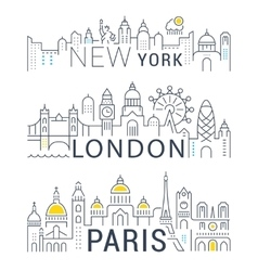 Set Line Banners Paris London and New York vector image