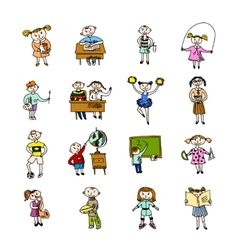 Set of doodle children vector