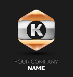 Silver letter k logo in silver-golden hexagonal vector