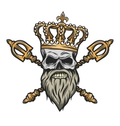 Skull crown and scepter Color version vector image