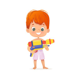 Smiling cute red hair baby boy with a toy water vector