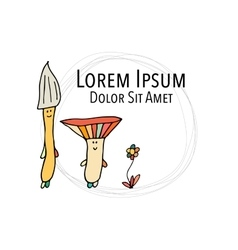 Smiling mushrooms sketch for your design vector