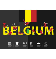 soccer players in action on belgium text vector image
