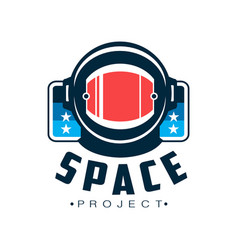 Space logo with astronaut s protective helmet vector