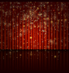 spotlight on red curtain with glitter light eps vector image