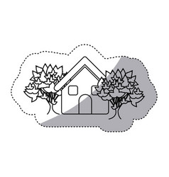 Sticker monochrome contour house with trees vector