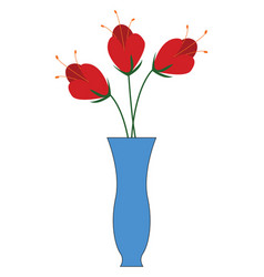 three red flowers in a blue vase on white vector image