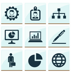 trade icons set with statistics analytics global vector image
