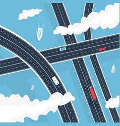 Transport highway above water vector