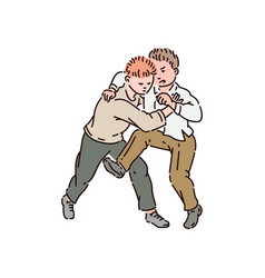 Two boys fight each other and kick vector