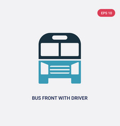 Two color bus front with driver icon from vector