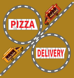 Two pizza delivery trucks ride highway vector