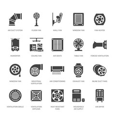 Ventilation equipment glyph icons air vector
