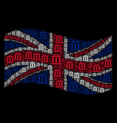waving great britain flag collage of bank building vector image