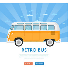 Website design with classic retro bus vector